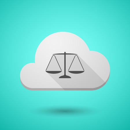 tribunal: Illustration of a cloud icon with a justice weight scale sign