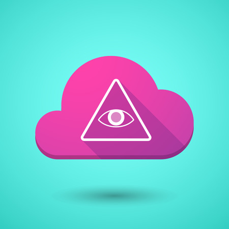 seeing: Illustration of a cloud icon with an all seeing eye