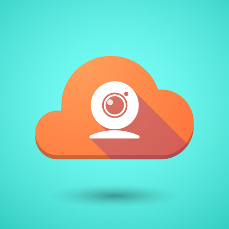 web cam: Illustration of a cloud icon with a web cam