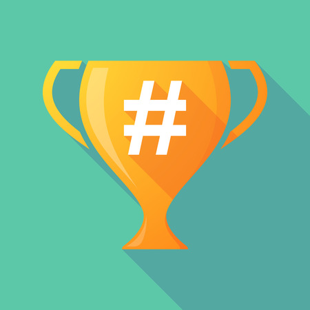 Illustration of a trophy icon with a hash tag Illustration
