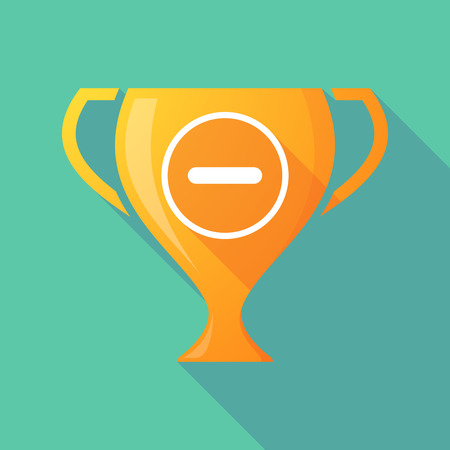 subtraction: Illustration of a trophy icon with a subtraction sign
