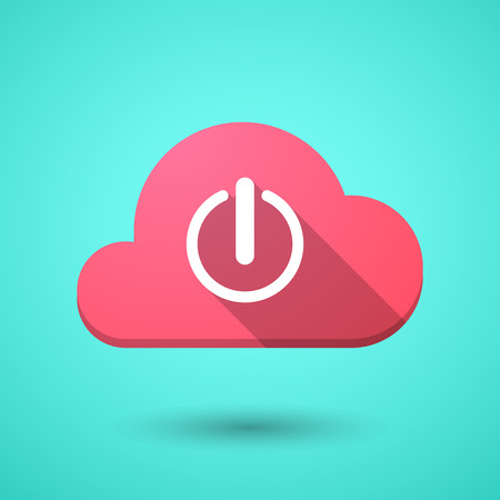 on off button: Illustration of a cloud icon with an off button