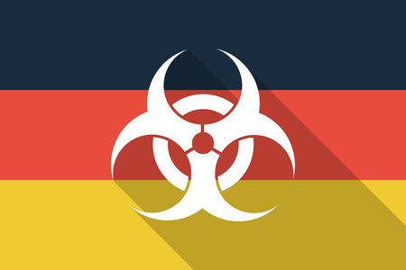 biohazard sign: Illustration of a Germany long shadow flag with a biohazard sign