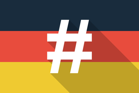 hash: Illustration of a Germany  long shadow flag with a hash tag