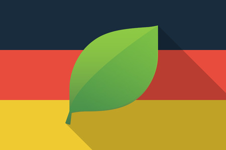 Illustration of a Germany  long shadow flag with a leaf
