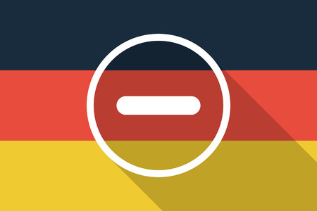 subtraction: Illustration of a Germany  long shadow flag with a subtraction sign