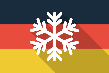 Illustration of a Germany  long shadow flag with a snow flake Vector