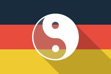 Illustration of a Germany  long shadow flag with a ying yang Vector