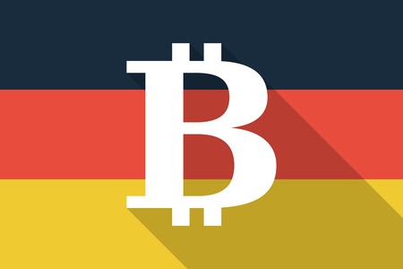 p2p: Illustration of a Germany  long shadow flag with a bit coin sign
