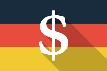 financial official: Illustration of a Germany long shadow flag with a dolar sign