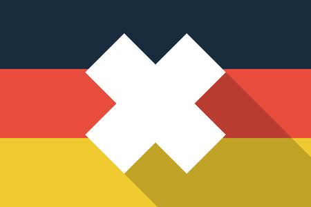 oxidizing: Illustration of a Germany  long shadow flag with an irritating substance sign
