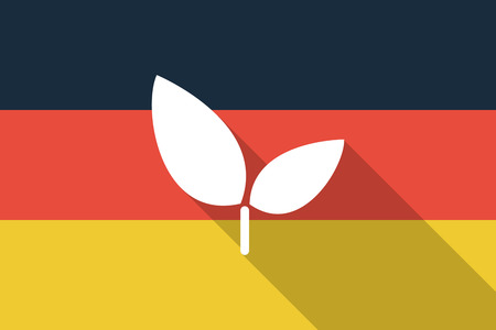 Illustration of a Germany  long shadow flag with a plant