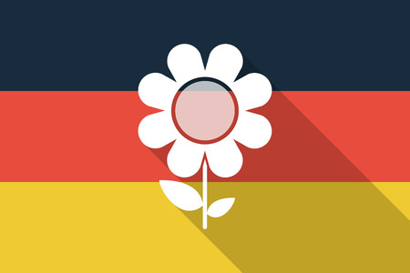 german chamomile: Illustration of a Germany  long shadow flag with a flower