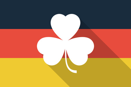 irish map: Illustration of a Germany  long shadow flag with a clover