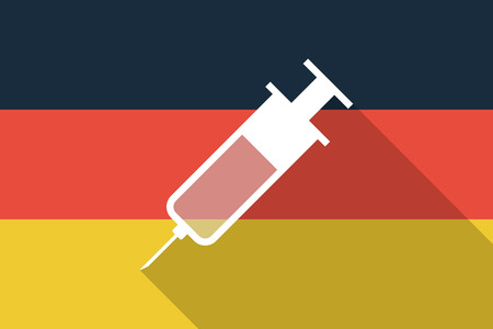 Illustration of a Germany  long shadow flag with a syringe Vector