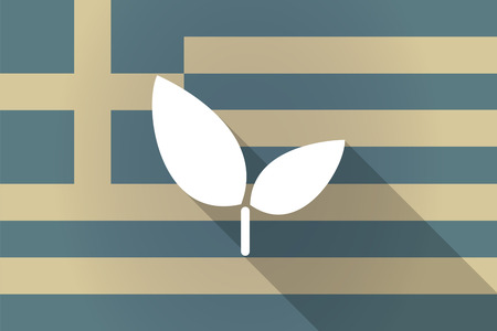 Illustration of a Greece  long shadow flag with a plant