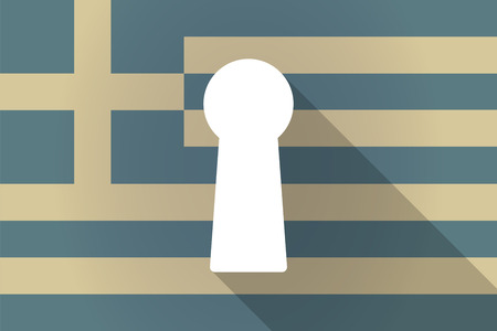 key hole: Illustration of a Greece long shadow flag with a key hole Illustration