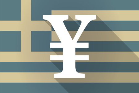 financial official: Illustration of a Greece  long shadow flag with a yen sign Illustration