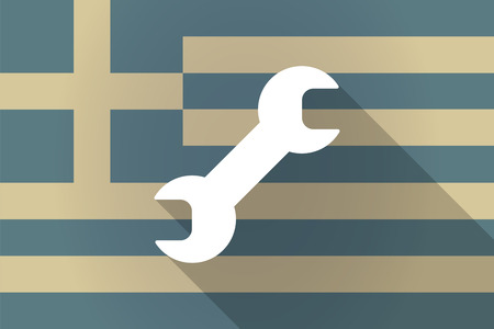 monkey wrench: Illustration of a Greece  long shadow flag with a wrench Illustration