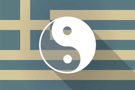 karma design: Illustration of a Greece  long shadow flag with a ying yang