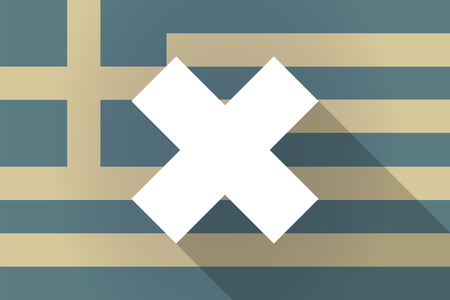 alphabet greek symbols: Illustration of a Greece long shadow flag with an x dsign