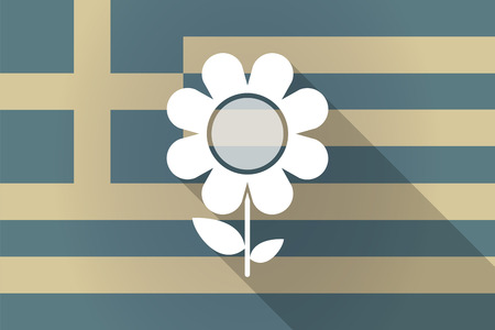 Illustration of a Greece  long shadow flag with a flower