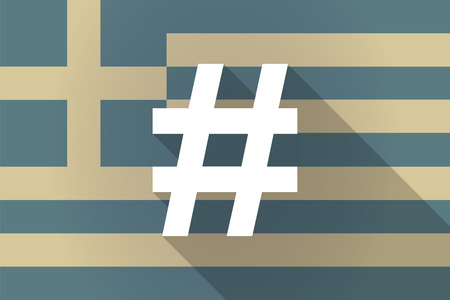 hash: Illustration of a Greece  long shadow flag with a hash tag Illustration