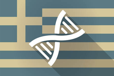 transgenic: Illustration of a Greece  long shadow flag with a DNA sign Illustration