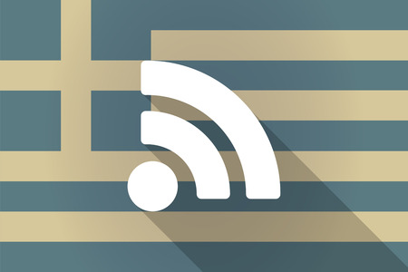 web feed: Illustration of a Greece long shadow flag with a RSS feed sign