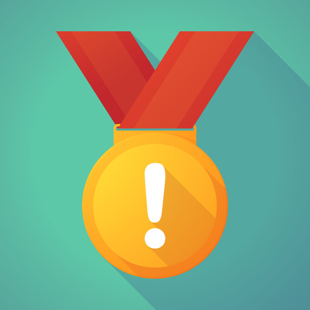 alert ribbon: Illustration of a long shadow gold medal with an exclamarion sign Illustration
