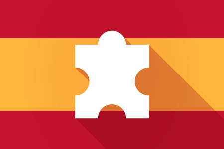 puzzle shadow: Illustration of a Spain  long shadow flag with a puzzle piece