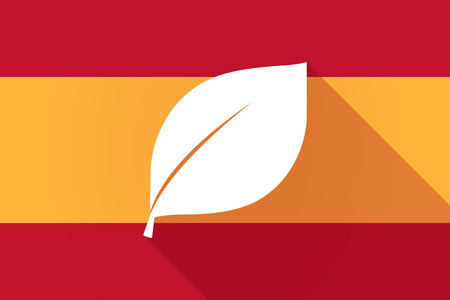 Illustration of a Spain  long shadow flag with a leaf
