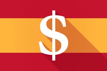 dolar: Ilustración de una bandera larga sombra España con un signo de dolar