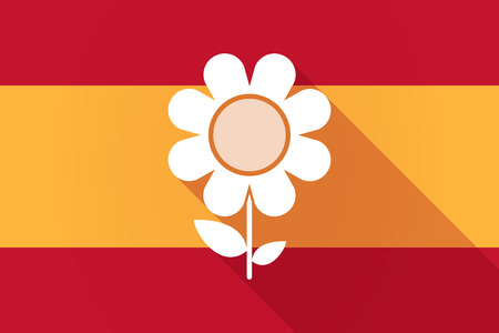 Illustration of a Spain  long shadow flag with a flower