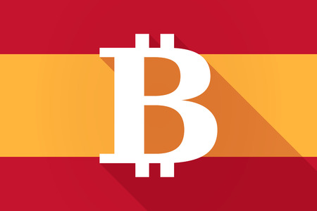 p2p: Illustration of a Spain  long shadow flag with a bit coin sign Illustration