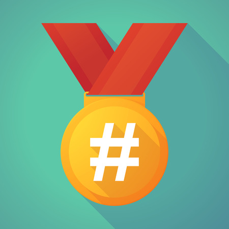 Illustration of a long shadow gold medal with a hash tag