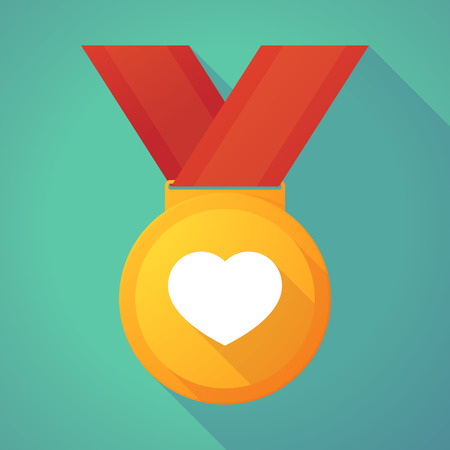 winning proposal: Illustration of a long shadow gold medal with a heart Illustration
