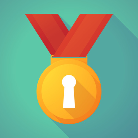 key hole: Illustration of a long shadow gold medal with a key hole