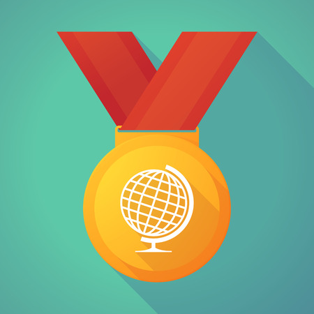 gold globe: Illustration of a long shadow gold medal with a world globe Illustration