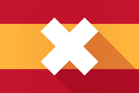 x country: Illustration of a Spain long shadow flag with an x dsign