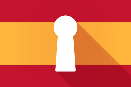 key hole: Illustration of a Spain long shadow flag with a key hole