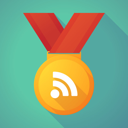 rss sign: Illustration of a long shadow gold medal with an RSS sign