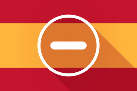 subtraction: Illustration of a Spain  long shadow flag with a subtraction sign Illustration