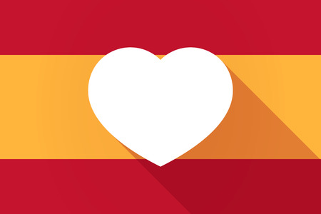 heart love: Illustration of a Spain  long shadow flag with a heart Illustration