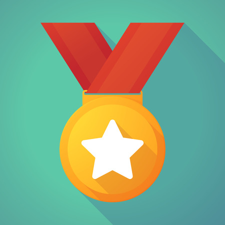 gold star: Illustration of a long shadow gold medal with a star