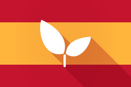 Illustration of a Spain  long shadow flag with a plant