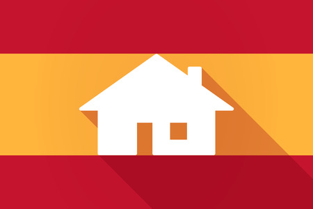 mediterranean homes: Illustration of a Spain  long shadow flag with a house