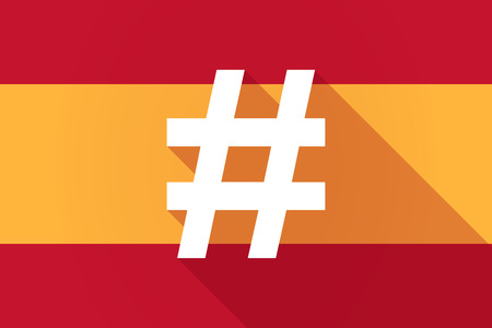 hash: Illustration of a Spain  long shadow flag with a hash tag