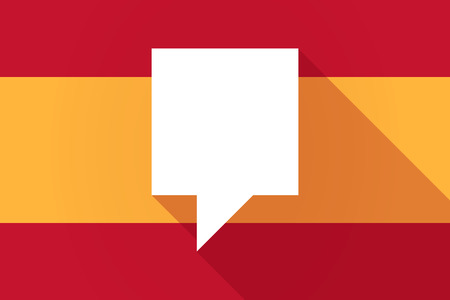 tip style design: Illustration of a Spain  long shadow flag with a tooltip