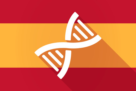 transgenic: Illustration of a Spain  long shadow flag with a DNA sign